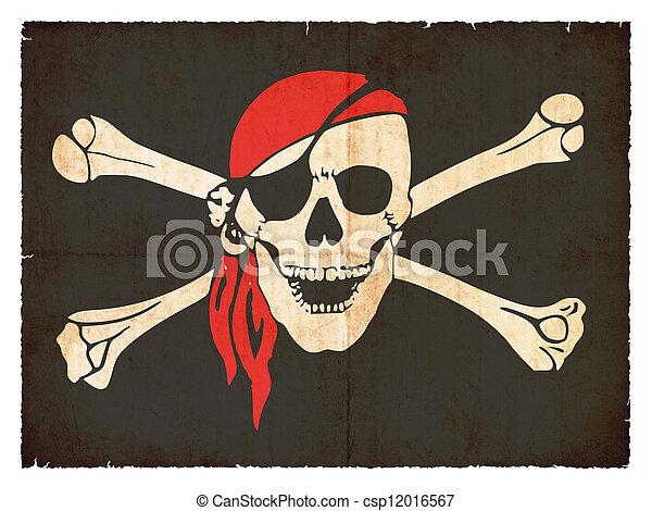 Grunge flag of pirates - csp12016567