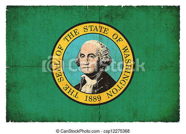 Grunge flag of Washington (USA) - csp12275368