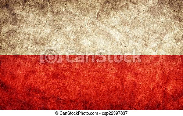 grunge, flag., polônia, vindima, item, bandeiras, retro, cobrança, meu - csp22397837
