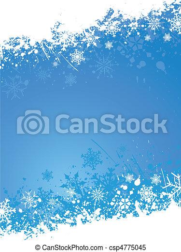 grunge, flocon de neige, fond - csp4775045