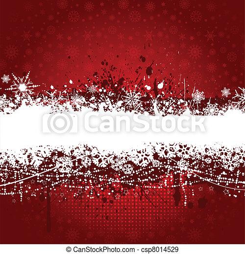 grunge, flocon de neige, fond - csp8014529
