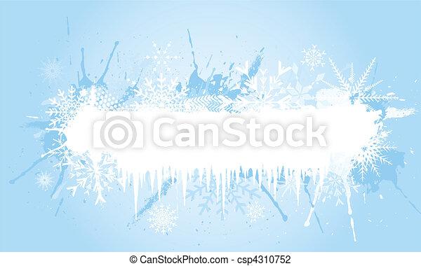 grunge, flocon de neige, fond - csp4310752