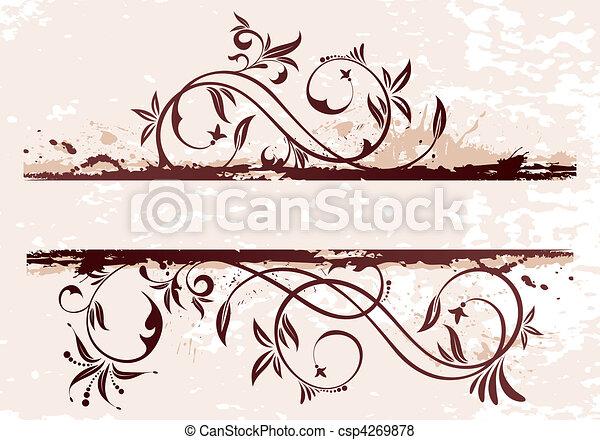 Grunge Floral Background - csp4269878