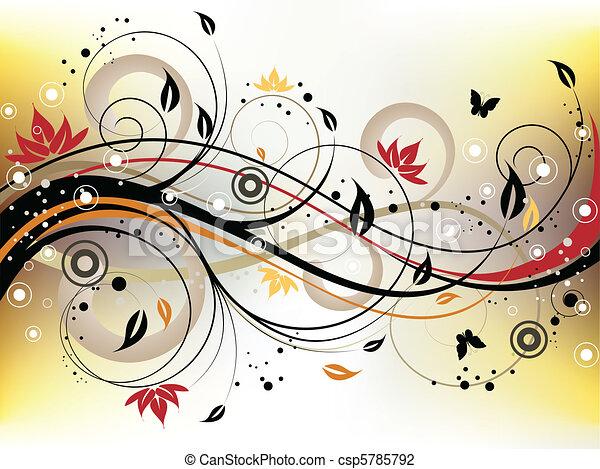 Grunge Floral Background - csp5785792