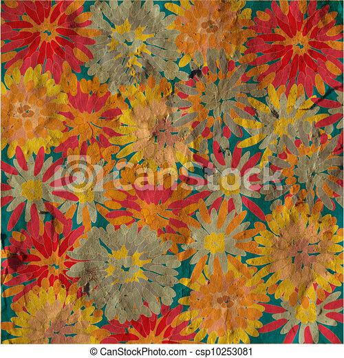 Grunge floral background vintage card - csp10253081