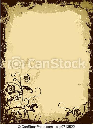 Grunge floral border, vector - csp0713522