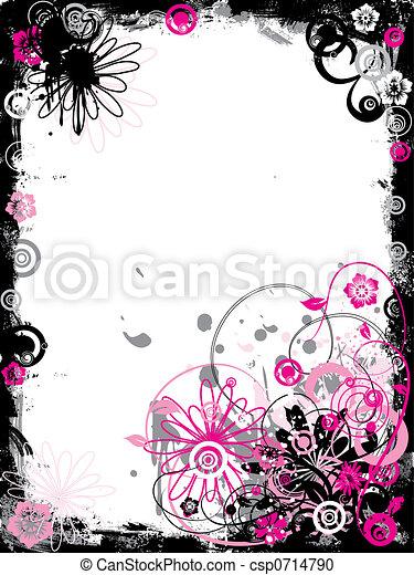 Grunge floral border, vector - csp0714790