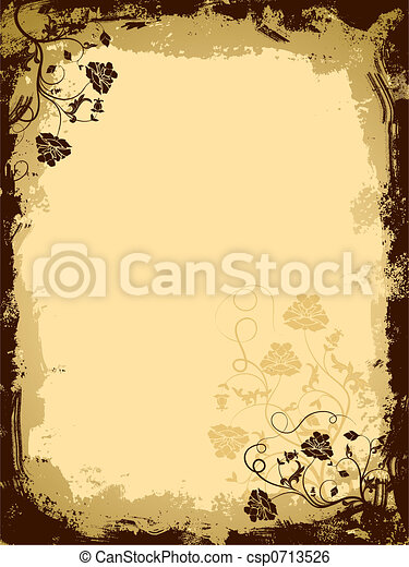 Grunge floral border, vector - csp0713526