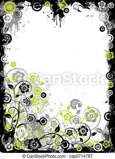 Grunge floral border, vector - csp0714787
