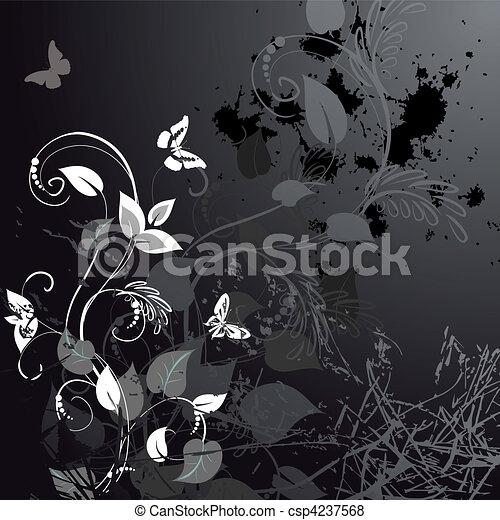 grunge floral design with butterflies - csp4237568