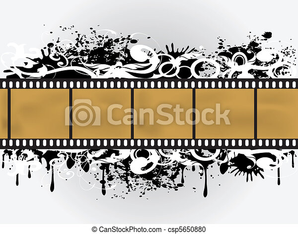 Grunge Floral Film Border - csp5650880