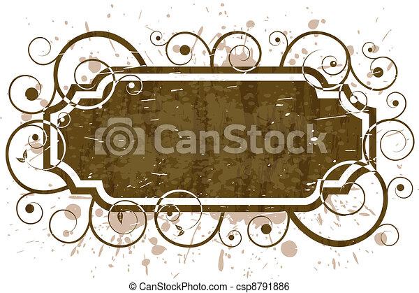 grunge floral swirl frame pattern - csp8791886