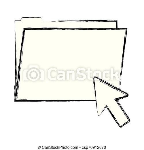 grunge folder file with arrow cursor mouse - csp70912870