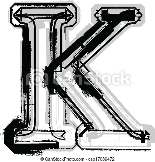 Grunge Font Letter K