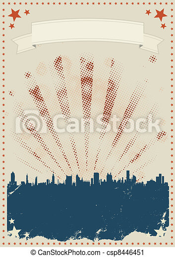 Grunge Fourth Of July Poster - csp8446451