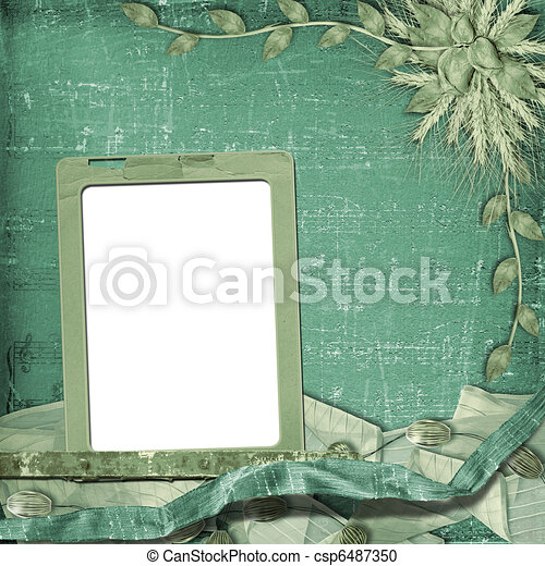 Grunge frame in scrapbooking style with bunch of rose - csp6487350
