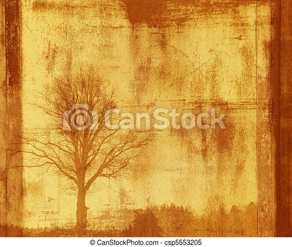 grunge frame with tree silhouette - csp5553205