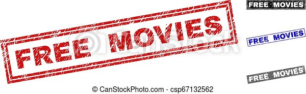 Grunge FREE MOVIES Scratched Rectangle Stamps - csp67132562
