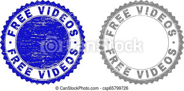 Grunge FREE VIDEOS Scratched Stamp Seals - csp65799726