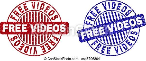 Grunge FREE VIDEOS Textured Round Stamp Seals - csp67968041