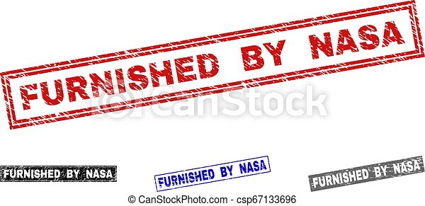 Grunge FURNISHED BY NASA Scratched Rectangle Stamp Seals - csp67133696