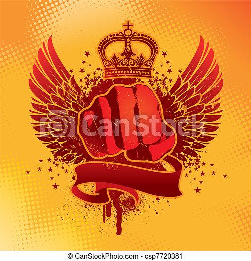 grunge, geflügelt, ritterwappen, vektor, faust, emblem - csp7720381