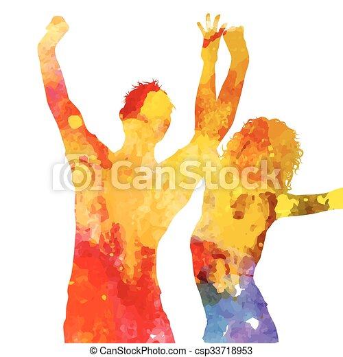 grunge, gens, aquarelle, conception, fête, 1405 - csp33718953