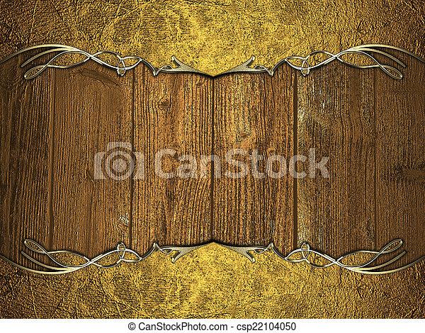 Grunge golden frame on wood background. design template.... stock ...