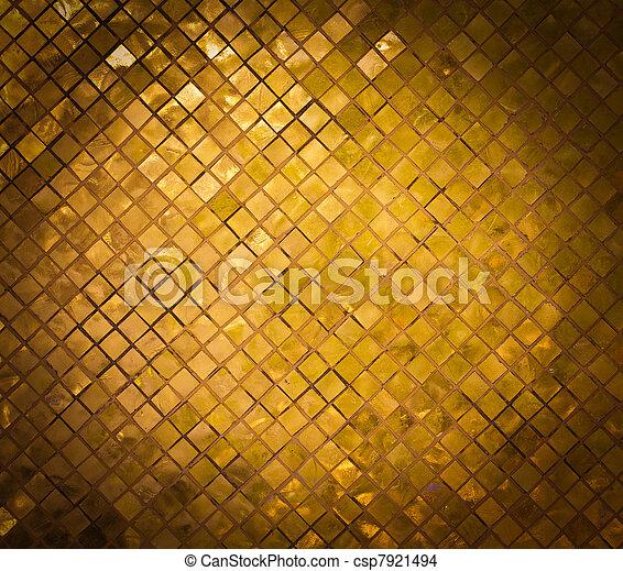 grunge golden mosaic, gold background - csp7921494