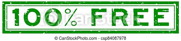 Grunge green 100 percent word square rubber seal stamp on white background - csp84087978