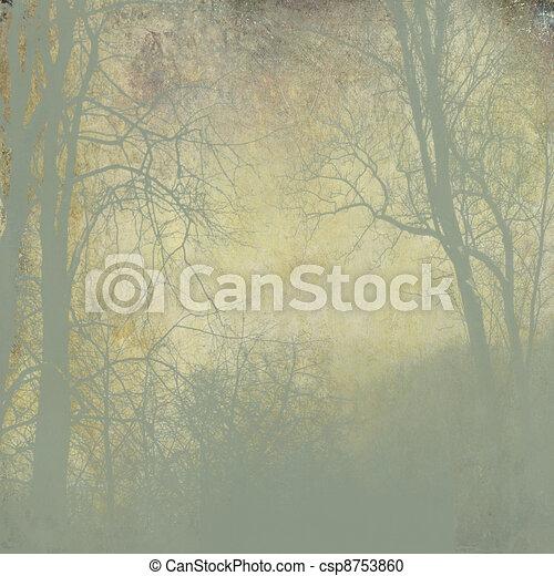 grunge green forest  with fog on golden background - csp8753860