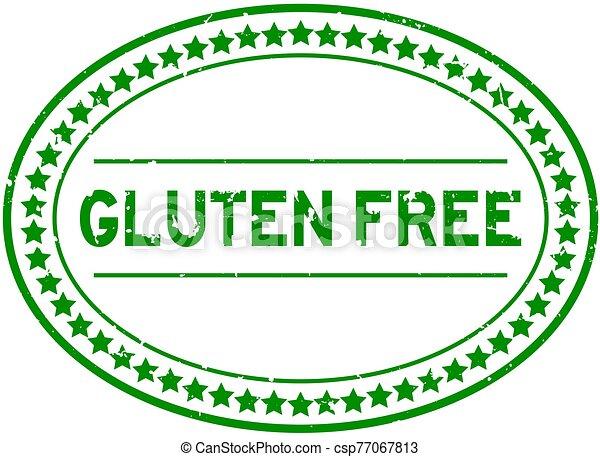 Grunge green gluten free word oval rubber seal stamp on white background - csp77067813