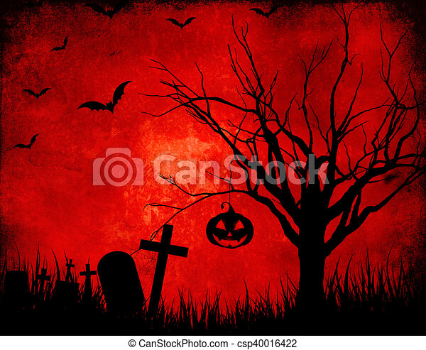 Grunge Halloween landscape background