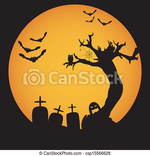 Grunge halloween night background vector.