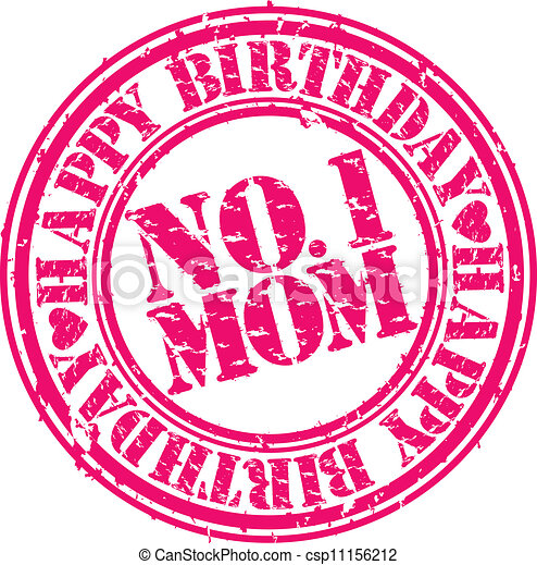 grunge happy birthday mom vector