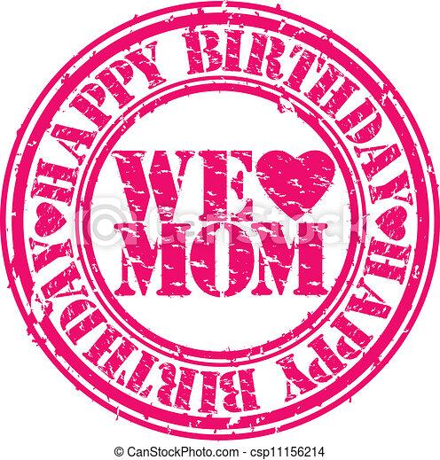 Grunge Happy Birthday Mom Vector