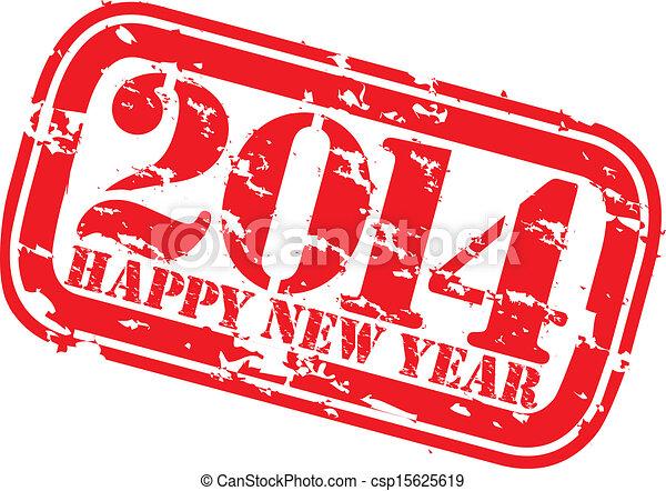 Grunge happy new 2014 year rubber s - csp15625619