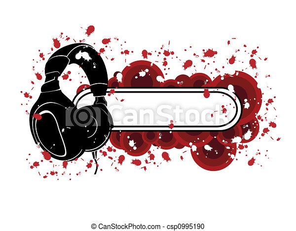 Grunge Headphones Pattern - csp0995190