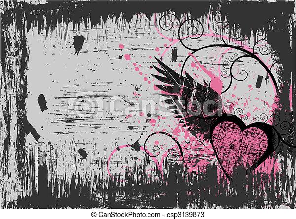 Grunge heart background - csp3139873