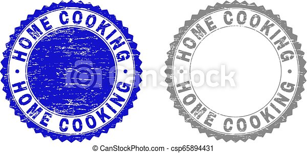 Grunge HOME COOKING Scratched Watermarks - csp65894431