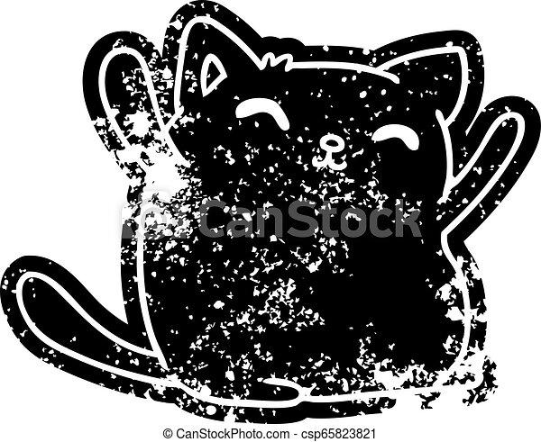 grunge icon of cute kawaii cat