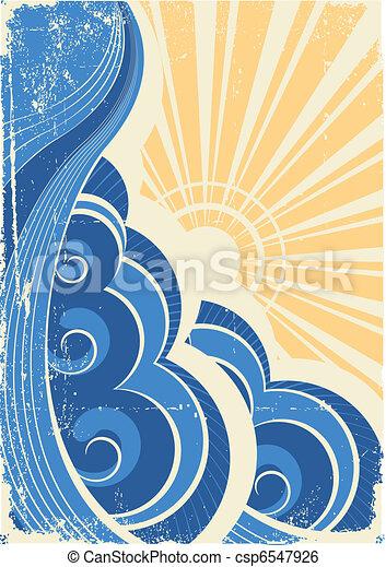 grunge, illustration, vecteur, paysage, mer, waves. - csp6547926