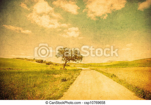 grunge image of countryside road - csp10769658