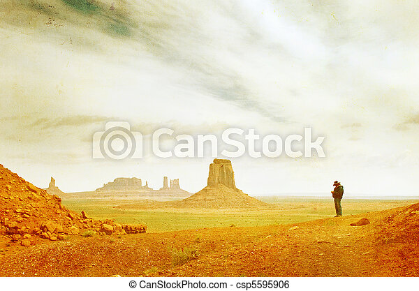 Grunge image of Monument Valley landscape - csp5595906