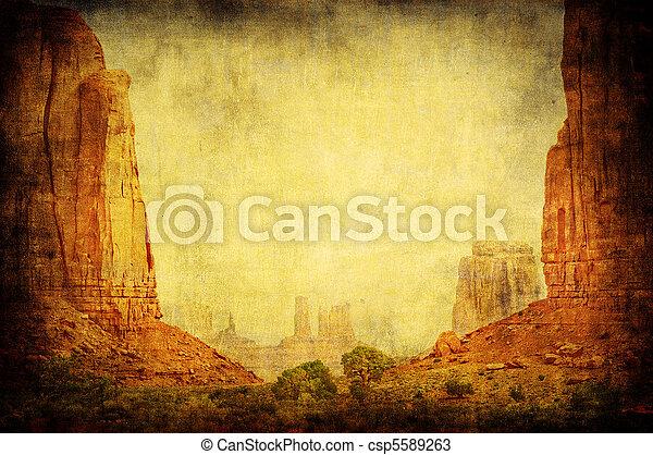 Grunge image of Monument Valley landscape - csp5589263
