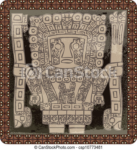 Grunge inca icon. Vector illustration - csp10773481