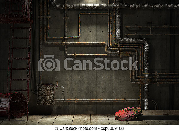 Grunge Industrial Pipe Wall Grunge Interior Room Of An