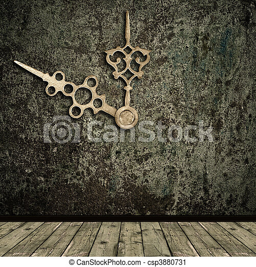 grunge interior and golden clock hands - csp3880731