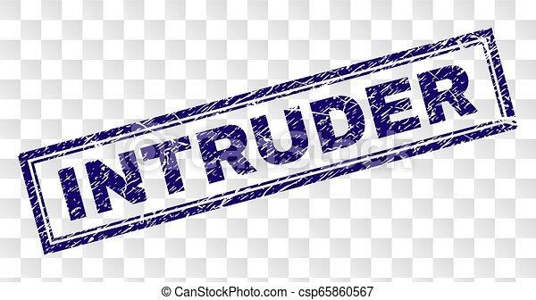 Grunge INTRUDER Rectangle Stamp - csp65860567