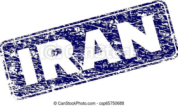 Grunge IRAN Framed Rounded Rectangle Stamp - csp65750688